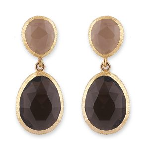 peach and smokey quartz drop earring