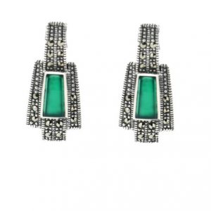 Green agate marcasite Vintage earrings
