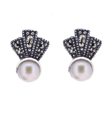 Fresh water pearl & Marcasite Earring