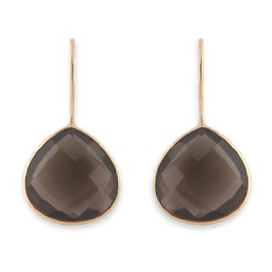 smokey quartz hook earring