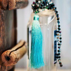 Aqua Boho Tassel necklace