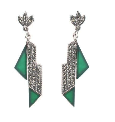 Art Deco Style Green agate earring